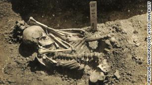 The adult male was excavated from the Tsukumo site near Japan's Seto Inland Sea.
