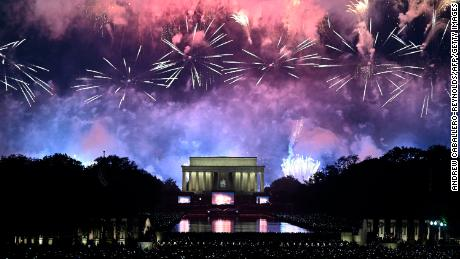 Fireworks explode over the Lincoln Memorial during the Fourth of July celebrations in Washington, DC, in 2019.