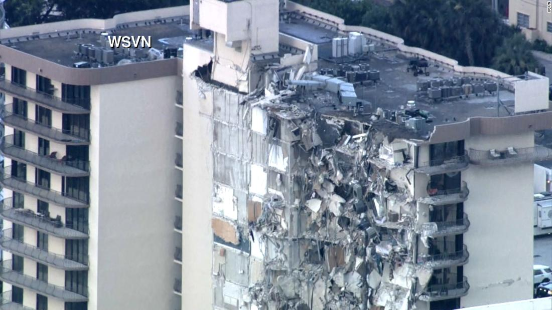 Aerial footage shows aftermath of collapse