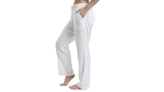 J & Ce cotton gauze beach pants with low waist and pockets