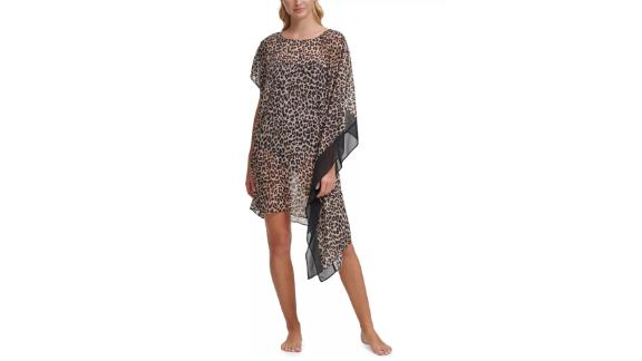 DKNY asymmetrical caftan cover dress with animal print