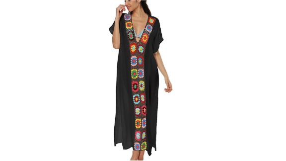 Bsubseach Floral Patchwork V-Neck Swimsuit Cover-Up