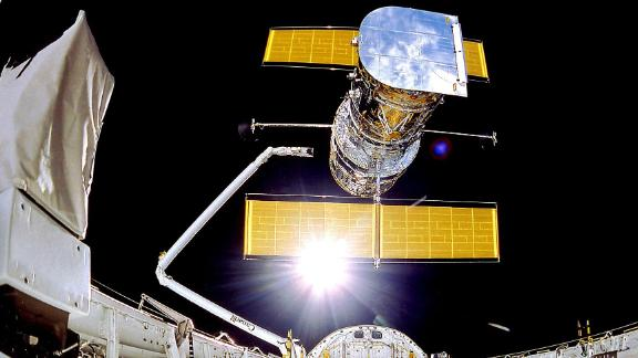 The Hubble Space Telescope deployed on April 25, 1990, from the space shuttle Discovery.