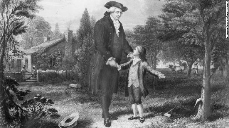 This illustration depicts the story of young George Washington chopping down the cherry tree, a popular tale that emphasizes the importance of honesty.