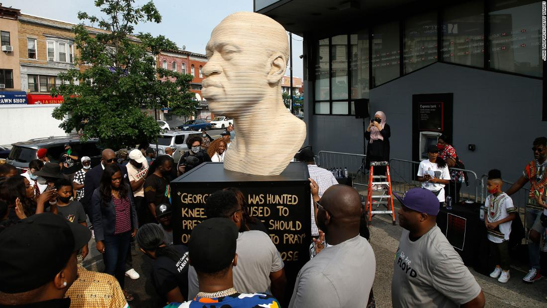 NYPD investigating vandalism of the George Floyd statue in Brooklyn as a hate crime