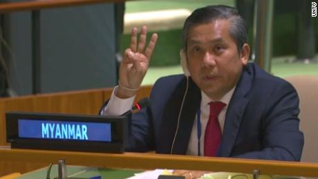 Kyaw Moe Tun made a three-finger salute before calling for international help to end military rule in Myanmar.