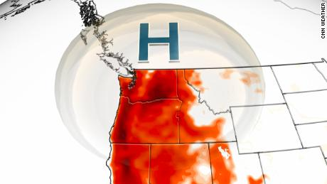 High pressure dome centered over the Pacific Northwest this weekend.