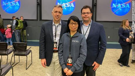 (From left) Dr. Kevin Maher, Chunhui Xu and Antonio Rampoldi, an associate scientist at Emory University School of Medicine, are shown.