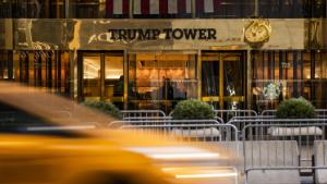 The entrance to Trump Tower in New York, U.S., on Sunday, Jan. 24, 2021.