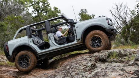 Like the Jeep Wrangler, the Bronco's doors and roof -- whether soft-top or hard -- are removable.