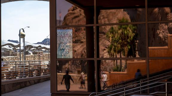 """A sign says """"stop in and cool off"""" on a building at Lake Mead in Boulder City, Nevada, on June 16. The lake is at its lowest water level on record since the reservoir was filled in the 1930s."""