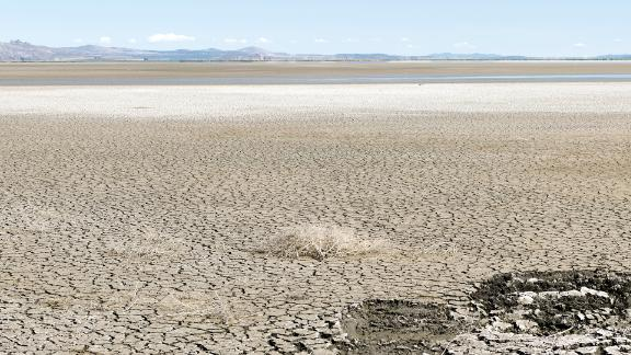 California's Tule Lake National Wildlife Refuge, near the Oregon border, is seen on May 28. The area has been severely affected by drought and the lack of irrigation waters from Upper Klamath Lake, which usually feeds into the refuge.