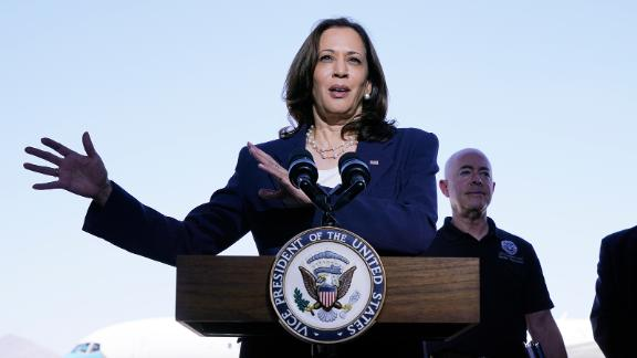 Vice President Kamala Harris talks to the media, Friday, June 25, 2021, after her tour of the US Customs and Border Protection Central Processing Center in El Paso, Texas.