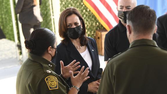 Harris tours the El Paso Border Patrol Station on Friday.