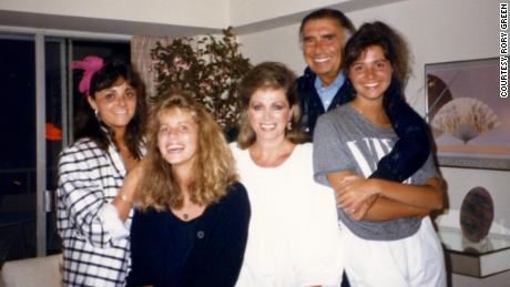 Rory Green (second from left) shared this family portrait including sister Tracy; mother Jackie Collins; father Oscar Lerman; and sister Tiffany.