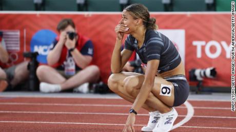 Sydney McLaughlin celebrates breaking the world record on Sunday.