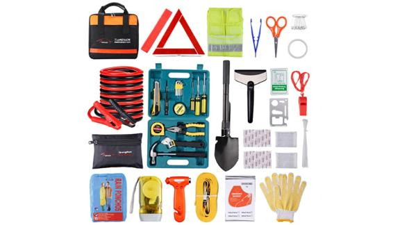 Road emergency kit with jumper cables