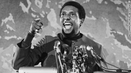 Stokely Carmichael speaks at an April 1970 civil rights gathering in Washington.