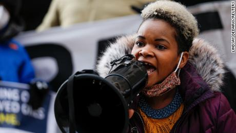 Community activist India Walton during her successful campaign to replace four-term Mayor Byron Brown, in Buffalo, New York, on December 15, 2020.