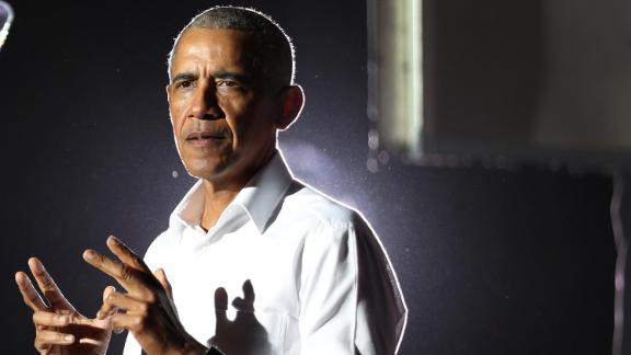 Former President Barack Obama speaks in support of Democratic presidential nominee Joe Biden during a drive-in rally at the Florida International University on November 2, 2020 in Miami, Florida.