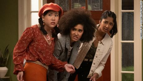 """(From left) Ramona Young as Eleanor Wong, Lee Rodriguez as Fabiola Torres, and Maitreyi Ramakrishnan as Devi Vishwakumar are shown in a scene from season two of """"Never Have I Ever."""""""