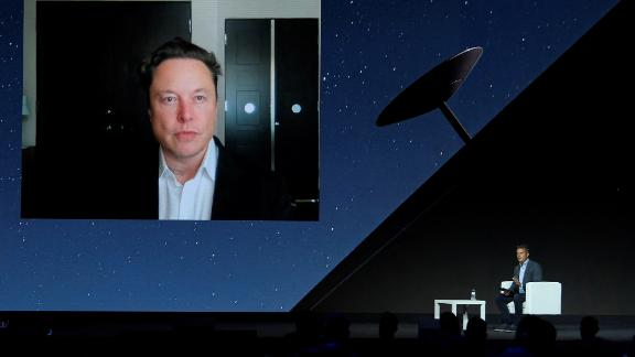 Tesla CEO Elon Musk gives a keynote speech by video conference at the Mobile World Congress (MWC) fair in Barcelona on June 29, 2021.