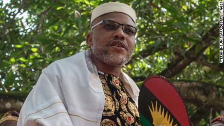 Political activist and leader of the Indigenous People of Biafra (IPOB) separatist movement, Nnamdi Kanu, pictured in Umuahia, southeast Nigeria, on May 26, 2017.