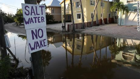 Ocean water floods a street in Key Largo, Florida, in 2019.