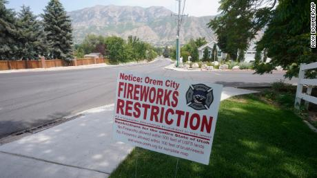 A fireworks restriction sign is shown in Utah.