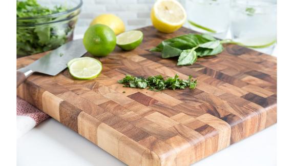 Ironwood Gourmet 28218 Square Charleston End Grain Cooking Board, Acacia Wood