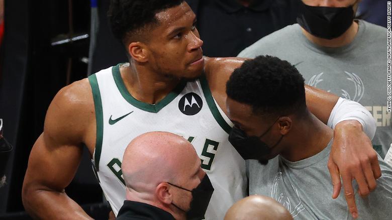 Giannis Antetokounmpo limps off injured as Atlanta Hawks stun Milwaukee Bucks