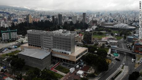 Aerial view of Asamblea Nacional in Quito, Ecuador.