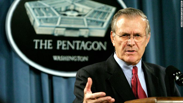 """<a href=""""https://www.cnn.com/2021/06/30/politics/donald-rumsfeld-dead/index.html"""" target=""""_blank"""">Donald Rumsfeld,</a> the acerbic architect of the Iraq War and a master Washington power player who served as US secretary of defense for two presidents, died at the age of 88, his family announced on June 30."""