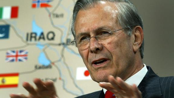 Rumsfeld briefs reporters at the Pentagon in April 2003. The Iraq War began a month earlier.