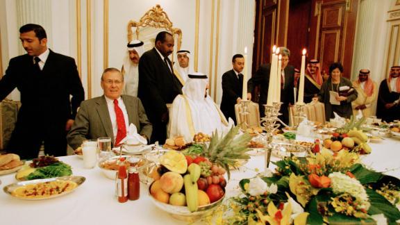 Rumsfeld sits with Saudi Arabian leaders during a visit to Riyadh, Saudi Arabia, in October 2001.