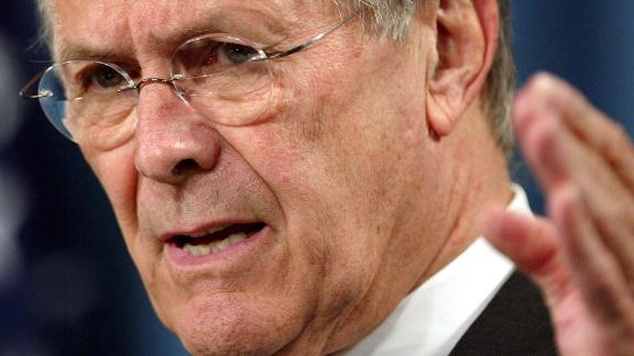 """Rumsfeld briefs reporters at the Pentagon in May 2004. Rumsfeld said he condemned the abuse of Iraqi prisoners by US soldiers as """"totally unacceptable and un-American,'' and he said the Defense Department would move vigorously to bring those responsible to justice."""
