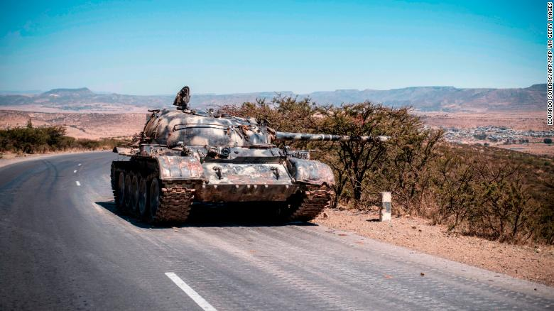A damaged tank on a road north of Mekelle, the capital of Tigray, on February 26