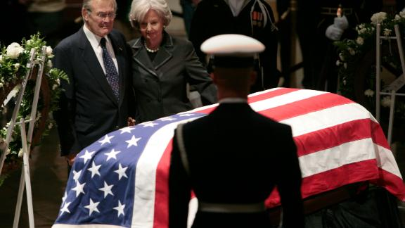 Rumsfeld and his wife, Joyce, pay their respects to former President Gerald Ford inside the US Capitol Rotunda in 2007.