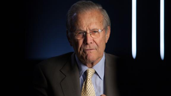 """Former Defense Secretary Donald Rumsfeld is seen in 2012 as he was being interviewed for """"The Presidents' Gatekeepers,"""" a documentary about the White House chiefs of staff."""