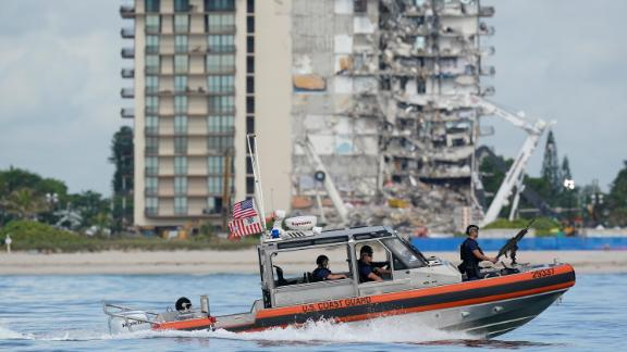 A Coast Guard boat patrols the water ahead of Biden's visit.