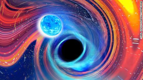 Cette illustration donne un aperçu technique de ce qui se passe lorsqu'un trou noir avale une étoile à neutrons.