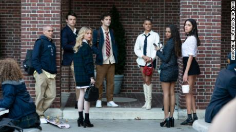 "(From left) Evan Mock, Thomas Doherty, Emily Alyn Lind, Eli Brown, Jordan Alexander, Savannah Lee Smith and Zion Moreno star in ""Gossip Girl."""