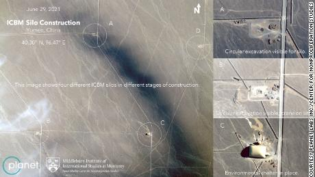 Satellite images appear to show four Chinese missile silos at various stages of construction.