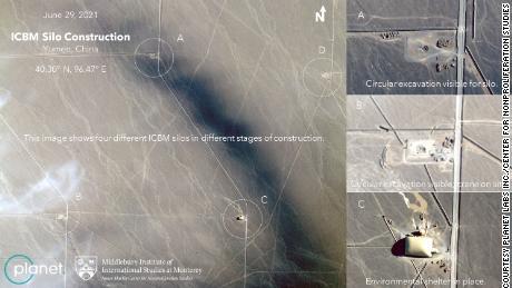 Les images satellites semblent montrer quatre silos de missiles chinois à différents stades de construction.