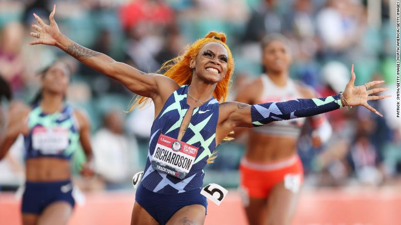 Sha'Carri Richardson celebrates winning the 100-meter final at the US Olympic team trials in June.