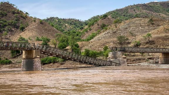 A destroyed bridge crossing the Tekeze River is seen in the Tigray region of northern Ethiopia Thursday, July 1.