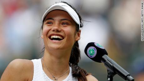 Raducanu smiles during her media interview after beating Romania's Sorana Cirstea in Wimbledon's third round.