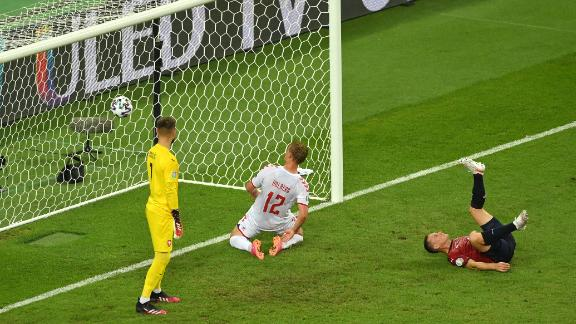 Kasper Dolberg finished off a flowing move to score the Danes' second goal.