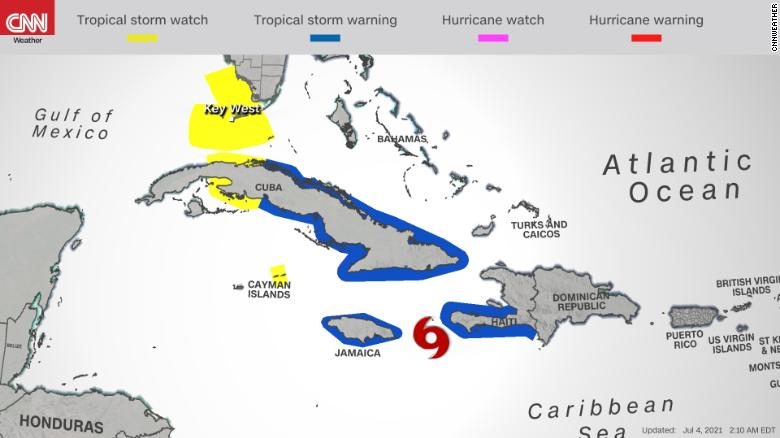 Watches and warnings are in place as Tropical Storm Elsa approaches Cuba.
