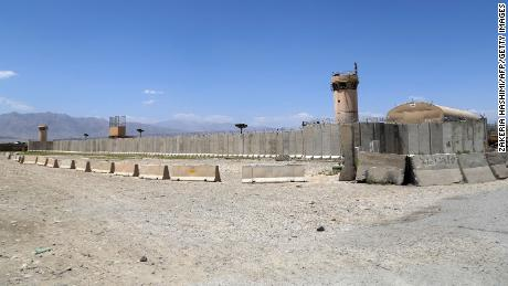 A general view of Bagram air base after all US and NATO troops left on July 2, 2021.